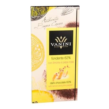 Fondente 62% med citron och rosépeppar, 100g, Vanini