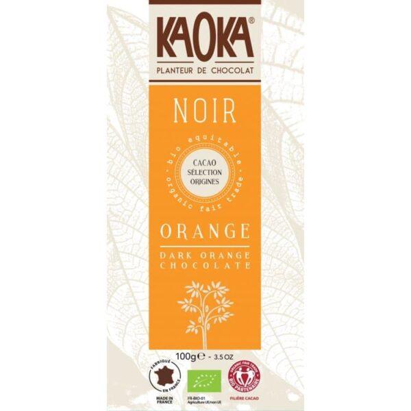 KAOKA Choklad, 55% Mörk Med Orange, Ekologisk