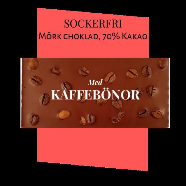 Sockerfri Mörk choklad – Kaffebönor 70%