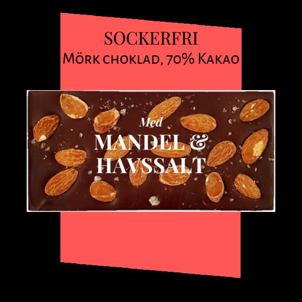 Sockerfri Mörk choklad – Mandel & Havssalt