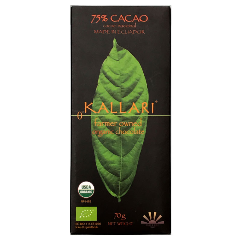KALLARI - Mörkchoklad 75% av Nacionalkakao – Ekologisk